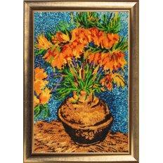 фото: картина для вышивки бисером букет в вазе