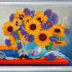 фото: картина для вышивки бисером натюрморт с подсолнухами