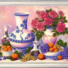 фото: картина для вышивки бисером Розы и виноград