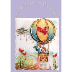 фото: подарочный конверт, вышитый бисером Воздушный шар
