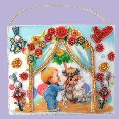 фото: подарочный конверт, вышитый бисером Малыш