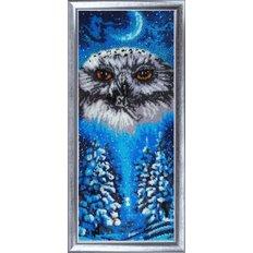 фото: картина для вышивки бисером Совушка-зима