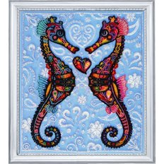 фото: картина для вышивки бисером Морские коньки