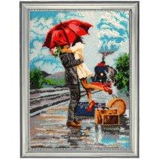фото: картина для вышивки бисером, встреча около поезда
