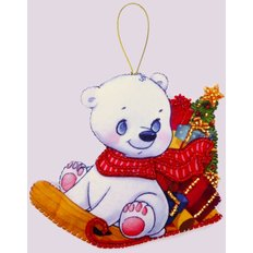 фото: игрушка из фетра белый мишка, новогодний сувенир