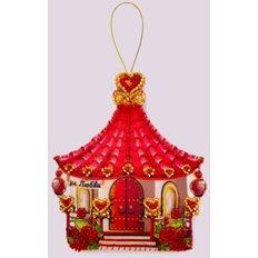 фото: игрушка из фетра розовый домик