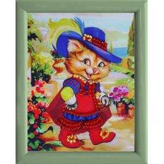фото: картина для вышивки бисером Кот в сапогах