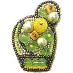 фото: брошь, вышитая бисером, Яркий кактус