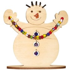 фото: новогодняя игрушка из дерева с бисером, Снеговик