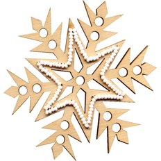 фото: новогодняя игрушка из дерева с бисером, снежинка