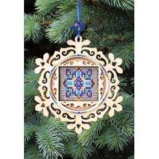 Набор новогоднее украшение из фанеры Новогодняя игрушка Витражная снежинка