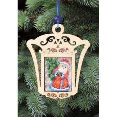 фото: новогодняя игрушка из дерева с бисером, Дед Мороз
