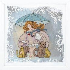 картина, вышитая крестиком, ангел с животными