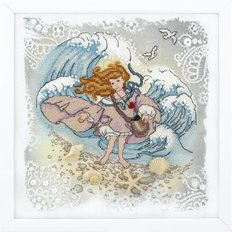 картина, вышитая крестиком, ангел у моря