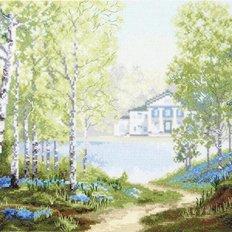 фото: картина для вышивки крестом Утро в весеннем лесу