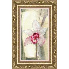 фото: картина, вышитая крестиком, Розовая орхидея