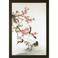 фото: картина, вышитая крестиком, Журавли, собирающие росу