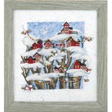картина для вышивки крестом, сказочный зимний пейзаж с домиками