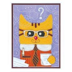 фото: набор для валяния картины из шерсти, рыжий кот в очках