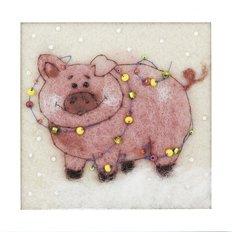 фото: картина из шерсти: розовая веселая свинка