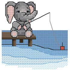 Схема для вышивания крестиком на водорастворимой канве Рыбалка