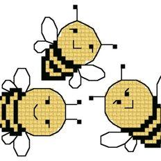 Схема для вышивания крестиком на водорастворимой канве Пчелки