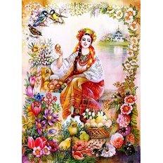 фото: картина для вышивки в алмазной технике, Украинка с писанками Художник Starovoytova Nadezhda