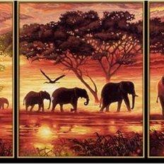 фото: картина для алмазной мозаики, триптих Африканские слоны