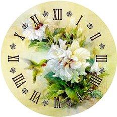фото: набор в алмазной технике Часы Белые пионы