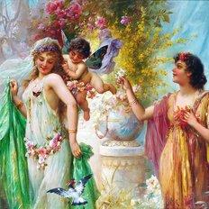фото: картина в алмазной технике, Ангелочек в саду. Художник Hans Zatzka