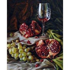 фото: картина в алмазной технике, Гранат и виноград