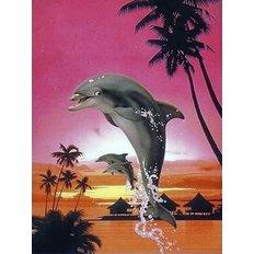 фото: картина для раскрашивания по номерам, Веселые дельфины
