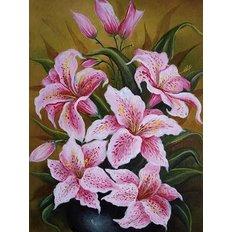 фото: картина для раскрашивания по номерам, Розовые лилии
