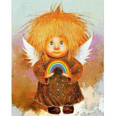 фото: картина для раскрашивания по номерам, Рыжий Ангел – Радуга счастья