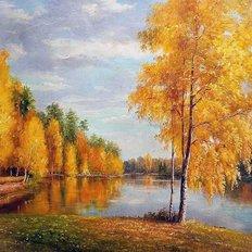 фото: картина для раскрашивания по номерам, Река в золоте осени