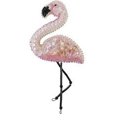 фото: брошь, вышитая бисером, Фламинго