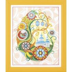 фото картина для вышивки крестом Пасха, храм, крашеники