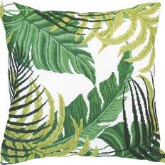 Набор для вышивки крестом подушки Тропические листья