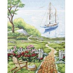 фото: картина, вышитая крестиком, Море и парусник