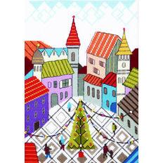 фото: картина для вышивки крестиком, Новогодняя площадь с яркими домиками