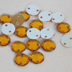 фото: камни пришивные круглые коричневые, 7 мм (50 шт)