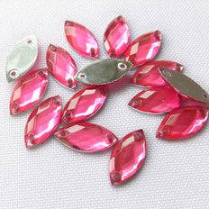 фото: камни пришивные розовые, 7х15 мм (25 шт)