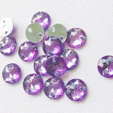 фото: камни пришивные круглые сиреневые, 7 мм (25 шт)