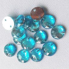 фото: камни пришивные круглые голубые, 7 мм (10 шт)