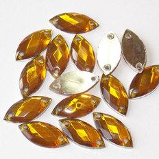 фото: камни пришивные золотые, 7х15 мм (1 шт)