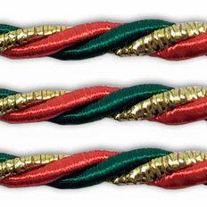 фото: шнур витой красно-зеленый для оформления сапожков и игрушек