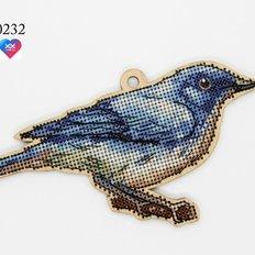 фото: деревянная фигурка, вышитая нитками, Синий соловей