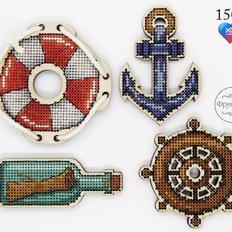 Набор для вышивки крестом на деревянной основе Морское путешествие