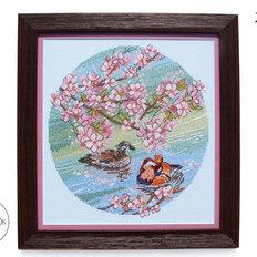 фото: картина, вышитая крестиком, Утки-Мандаринки