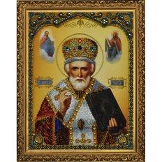 изображение: икона, вышитая бисером Николай Чудотворец